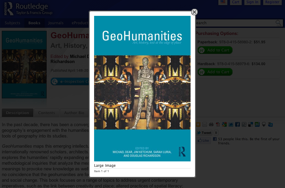 GeoHumanities: Art, History, Text at the Edge of Place - The Modern Geographer by Nikolas Schiller
