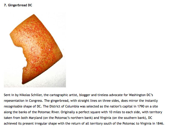 Screen grab from the blog Strange Maps by Frank Jacobs of the District of Columbia made out of Gingerbread