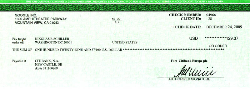 Scan of My Holiday Present From Google: My First AdSense Check