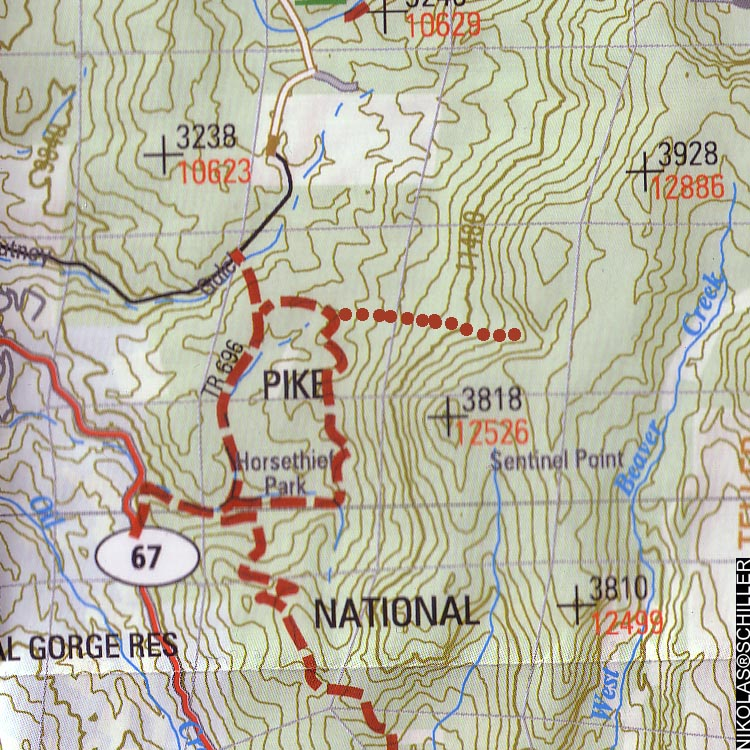 Detail of a topographic map of Pike National Forest