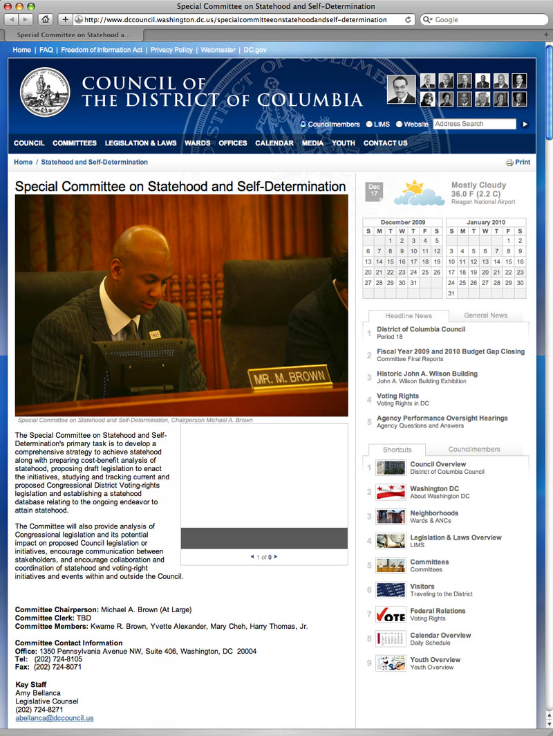 Screen grab of the website for the DC's government's Special Committee on Statehood and Self-Determination