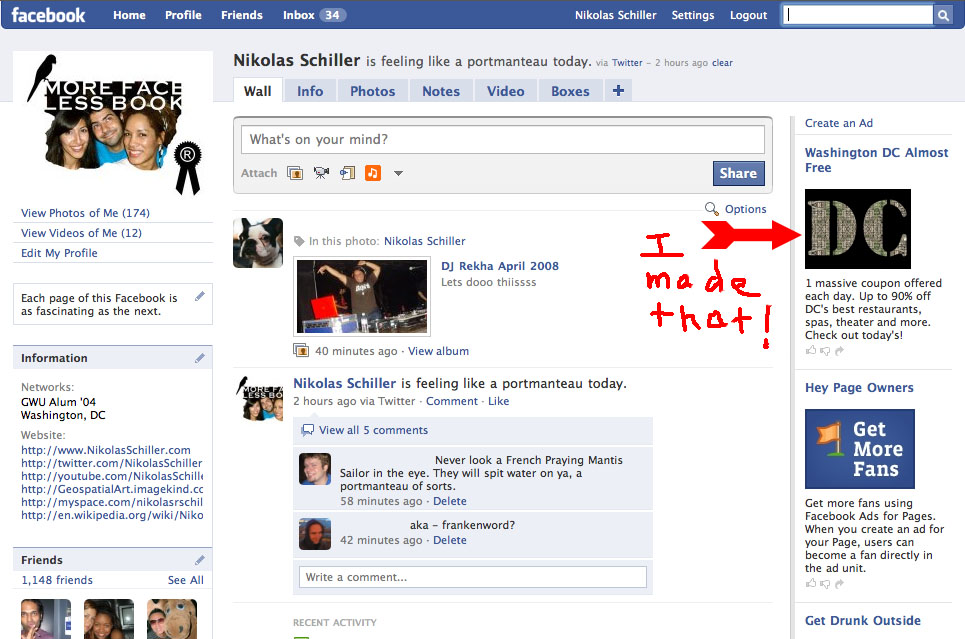 Screen grab from Facebook showing my map DC Stencil being used without my permission -- click to see full size