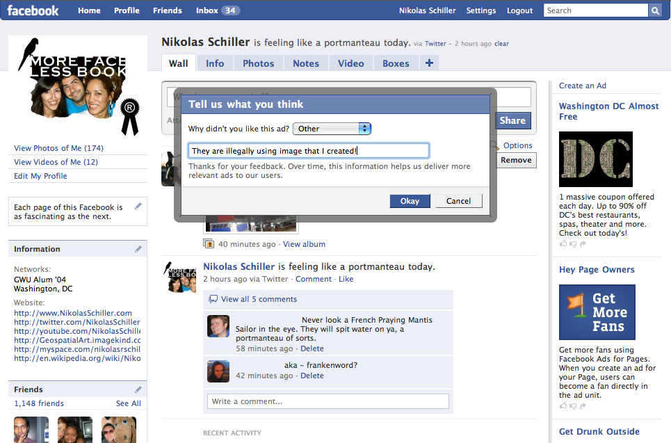 Screen grab from Facebook showing my map DC Stencil being used without my permission and my message to Facebook as to why the ad should be removed-- click to see full size