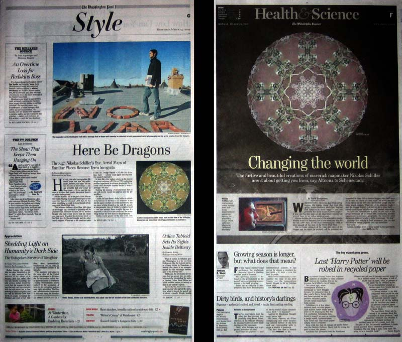 Photograph of the Washington Post and Philadelphia Inquirer newspapers showing my map Jefferson Mandala