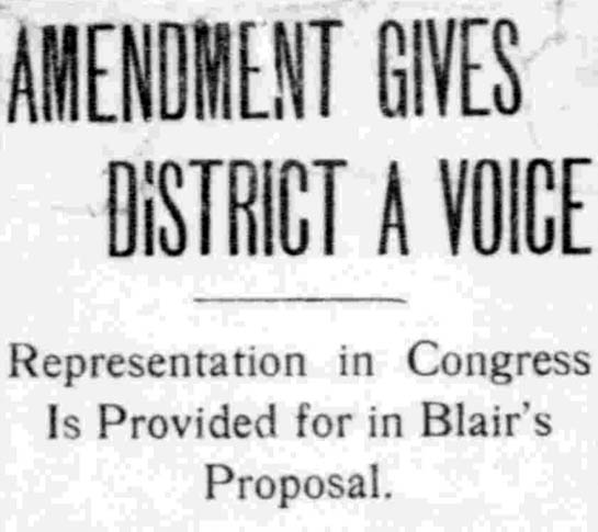 AMENDMENT GIVES DISTRICT A VOICE - The Washington Times, November 18, 1908