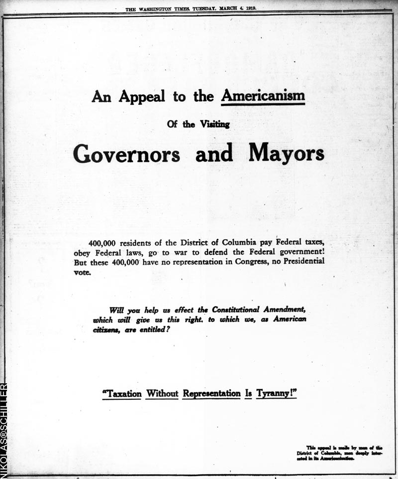 An Appeal To The Americanism of Visiting Governors & Mayors - The Washington Times, March 4, 1919