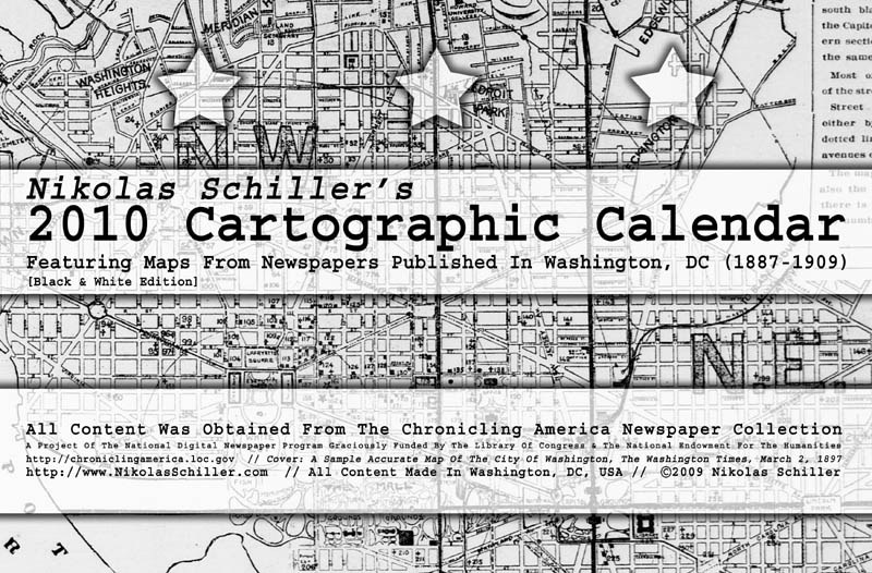 Front cover of the Black & White Edition of the 2010 Cartographic Calendar by Nikolas Schiller