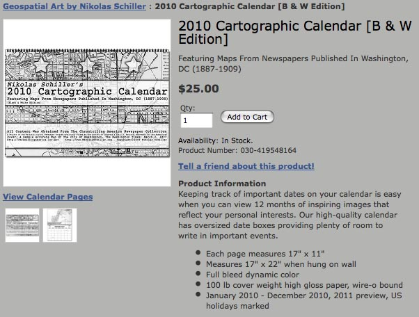 Purchase The Black & White Edition of the 2010 Cartographic Calendar by Nikolas Schiller