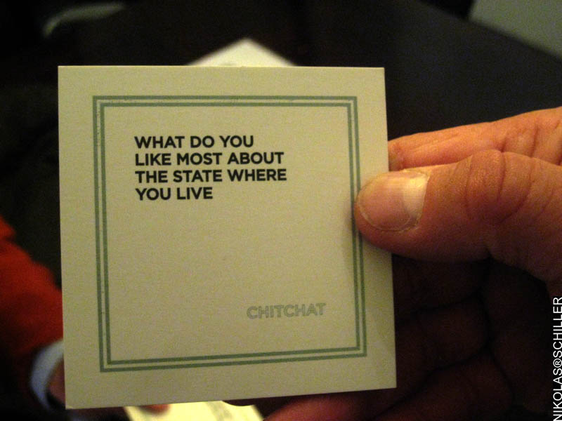 Photograph of the card from the game Chit Chat asking what do you like most about the state where you live