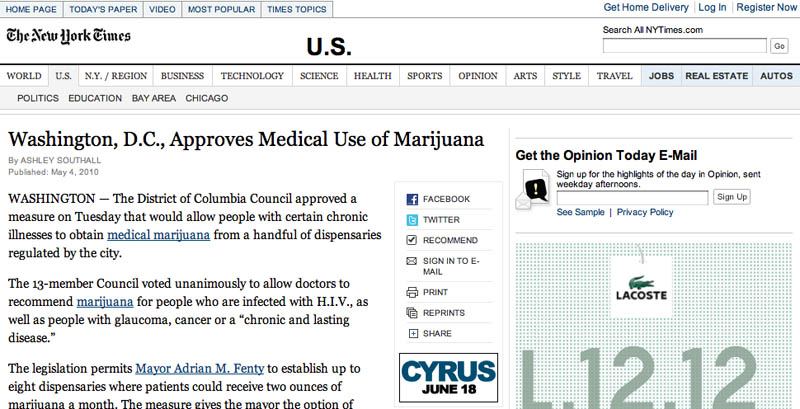 Screen grab of Washington, D.C., Approves Medical Use of Marijuana By Ashley Southall - The New York Times, May 5, 2010
