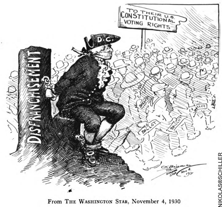 DC Colonist Cartoon published on election day November 4th, 1930 in the Washington Star