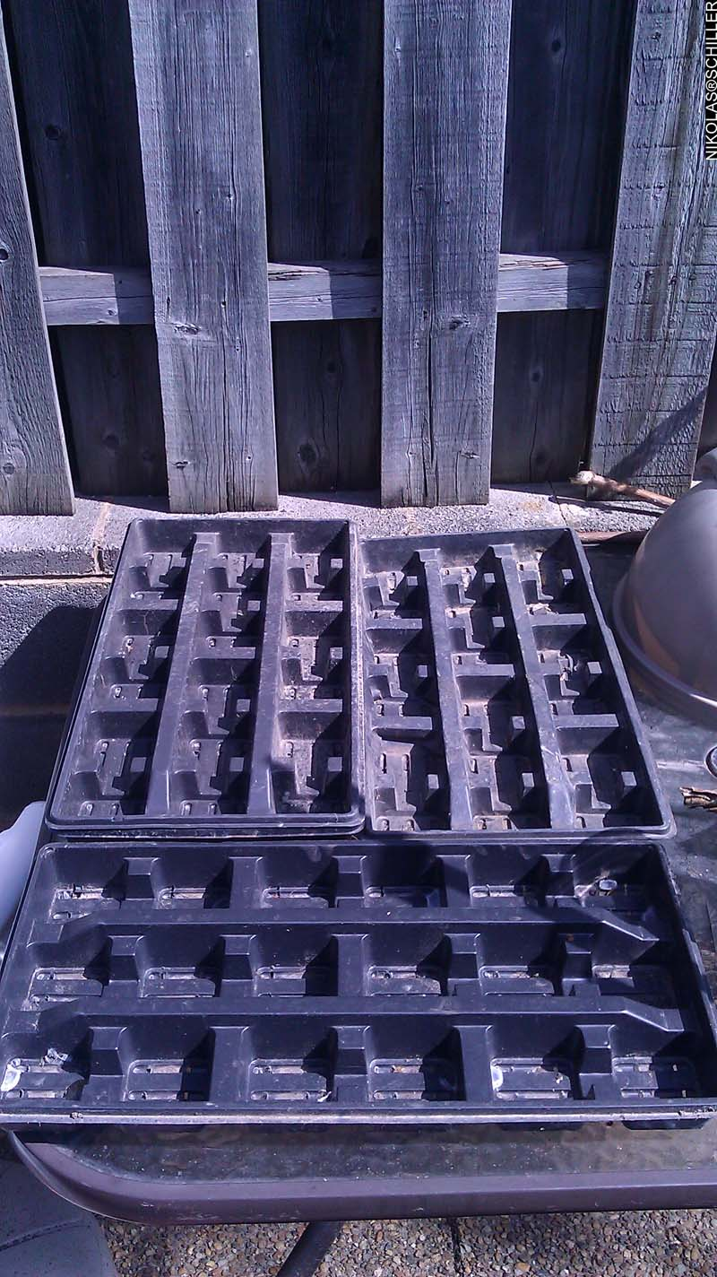Boring picture of a tray of black planters that have not been filled with soil