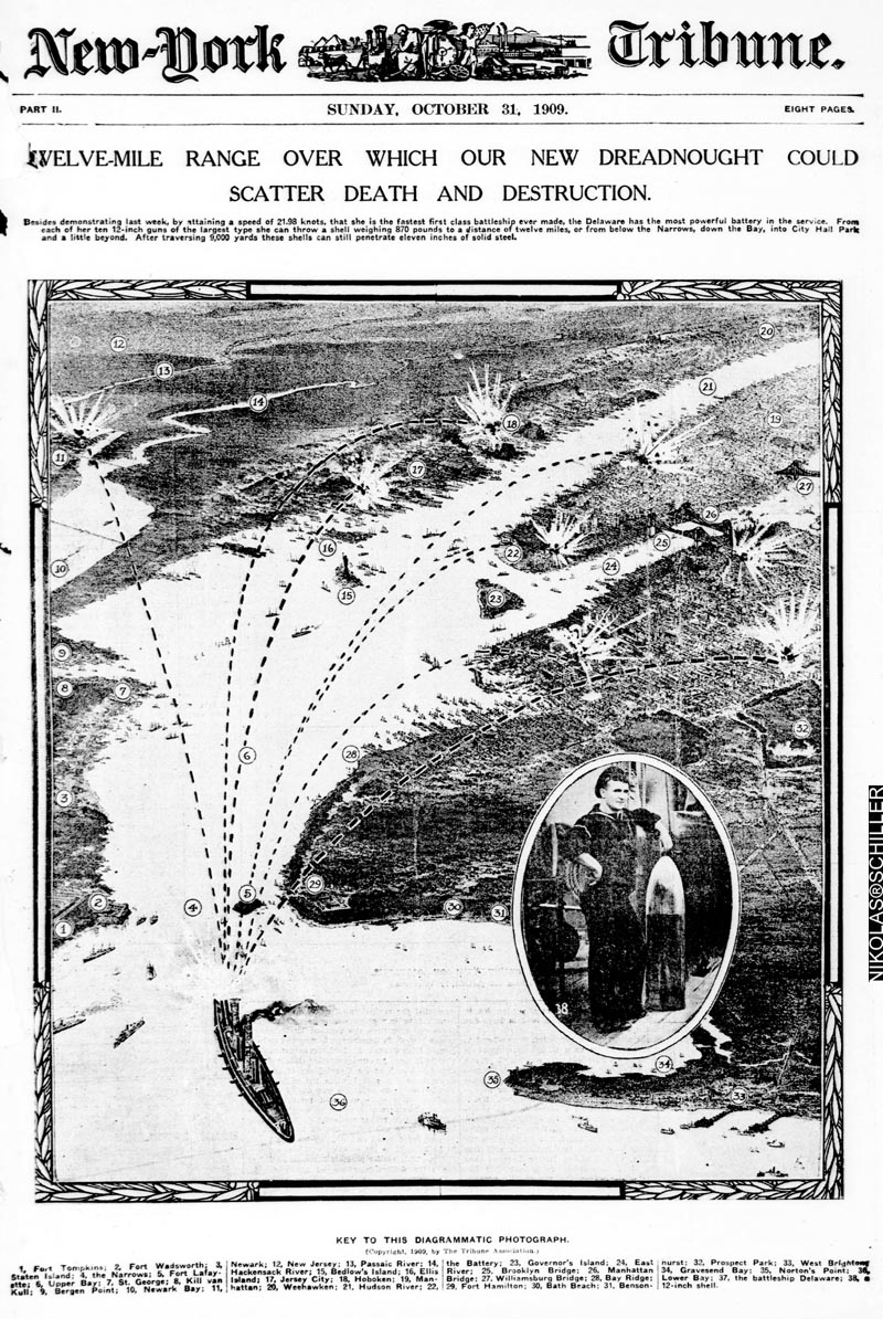 Scan of the front page of New York Tribune on Sunday, October 31st, 1909 showing the battleship Delaware firing on American targets