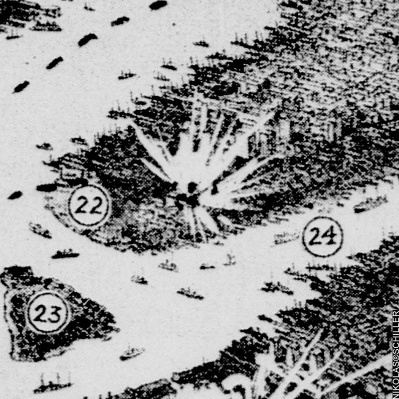 Detail of the front page of New York Tribune on Sunday, October 31st, 1909 showing the battleship Delaware firing on American targets