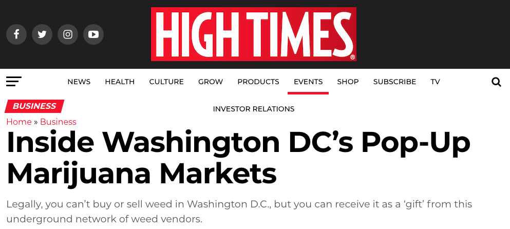High Times: Inside Washington DC's Pop-Up Marijuana Markets
