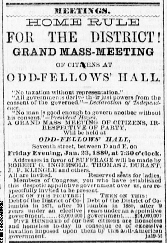 Scan of a Suffrage Meeting notice from the National Republican Newspaper from 1880