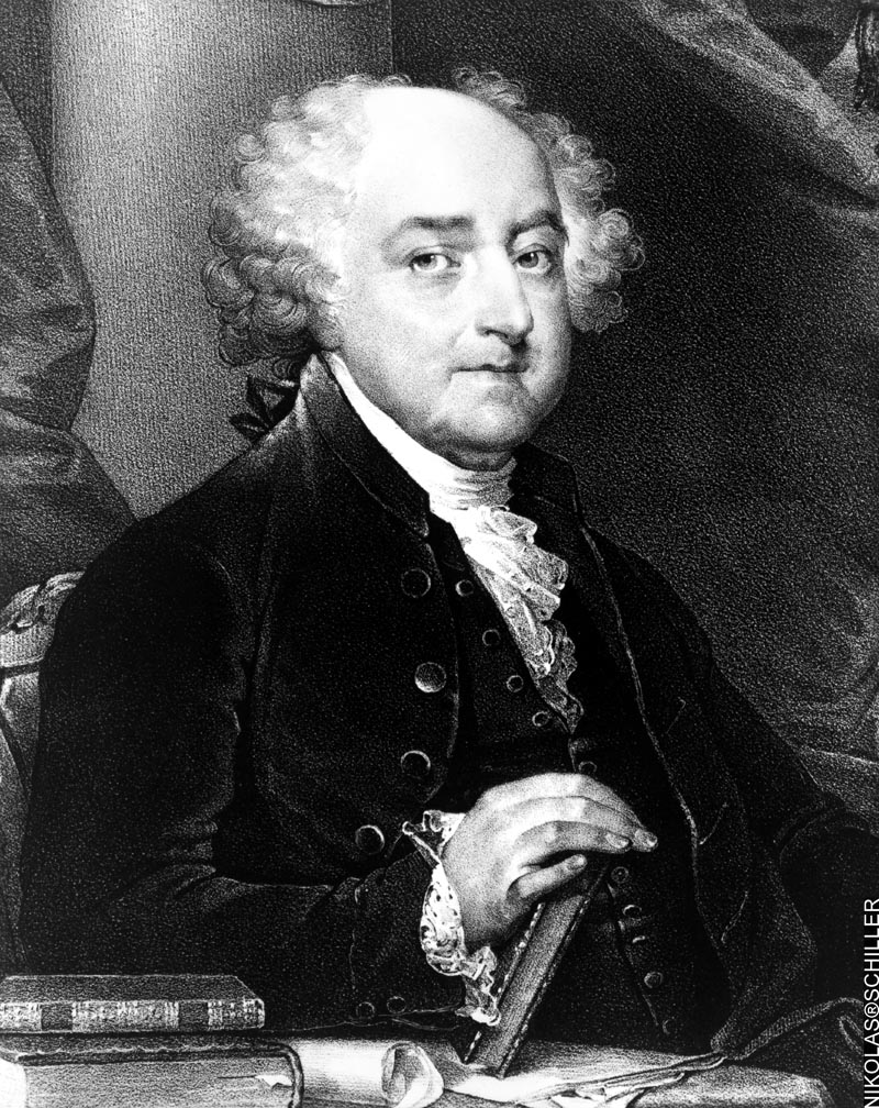 Lithograph of president John Adams derived from a Gilbert Stuart painting