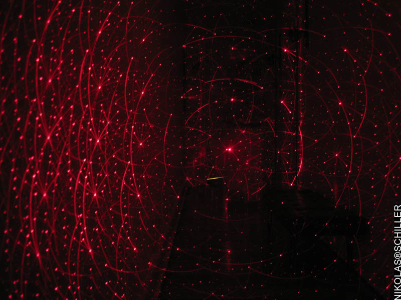 Photographs of a red & green laser in my friend's apartment in the Adams Morgan neighborhood of Washington, DC