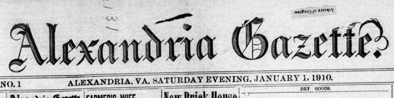 Scan of the newspaper masthead of the Alexandria Gazette