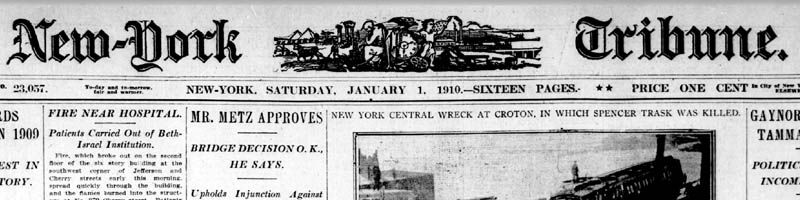 Scan of the masthead of the New York Tribune