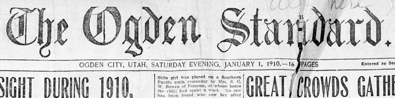 Scan of the masthead of the Ogden Standard