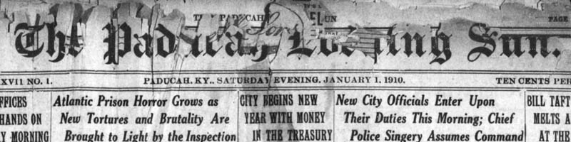Scan of the masthead of the Paducah Evening Sun