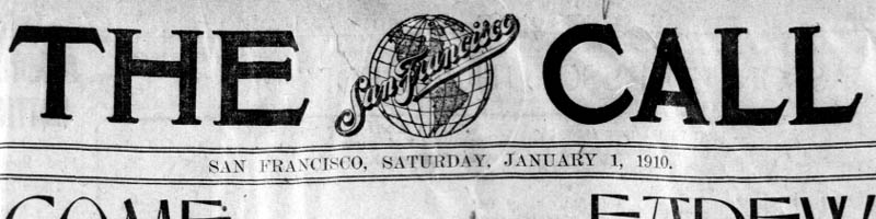 Scan of the newspaper masthead of the San Francisco Call