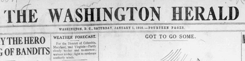 Scan of the masthead of the Washington Herald