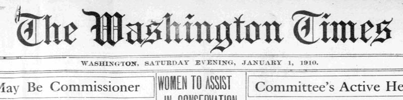 Scan of the masthead of the Washington Times