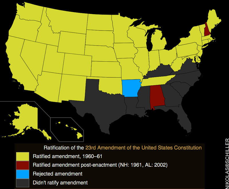 A recolored wikipedia map of the ratification of the 23rd Amendment to the United States Constitution