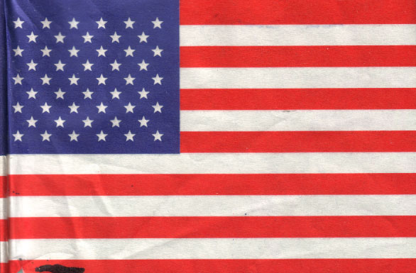 An American flag with Made In China blacked out
