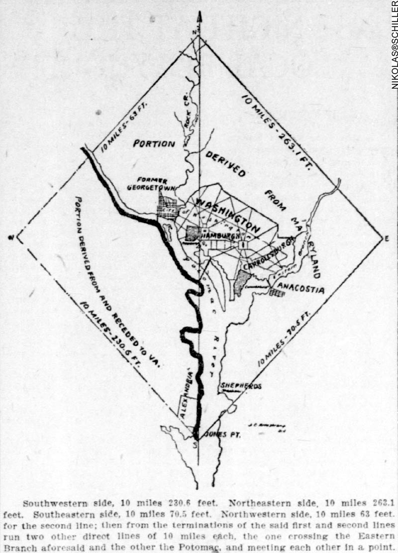 Map of the portion of the District of Columbia ceded back to Virginia