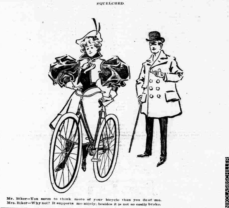 Squelched - A Bicycle Comic published on Sunday April 26th, 1896 in the Washington Times