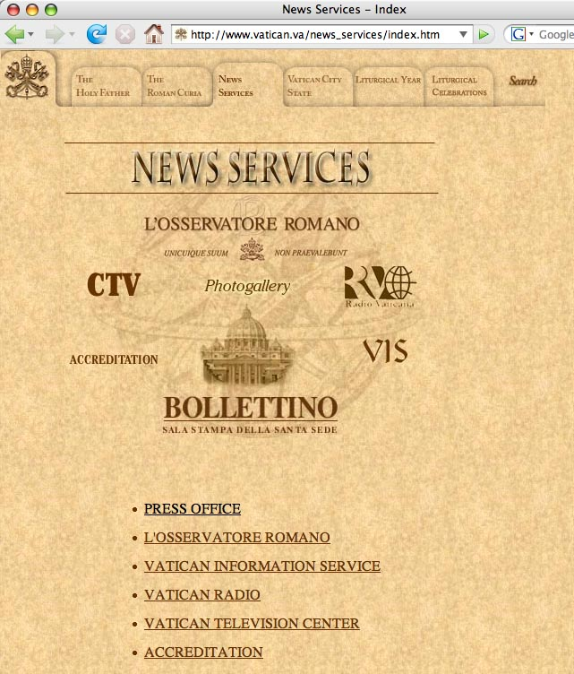 Screen grab from the website of the Vatican showing an Armillary Sphere in the background