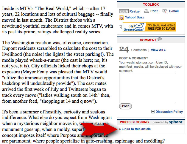 Screen grab from the Washington Post article on the Real World highlighting the link that is supposed to show who is blogging about the article you are reading
