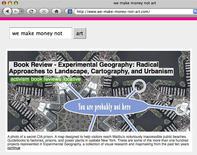 Screen grab of the front page of We Make Money Not Art --- links to the actual review, not front page
