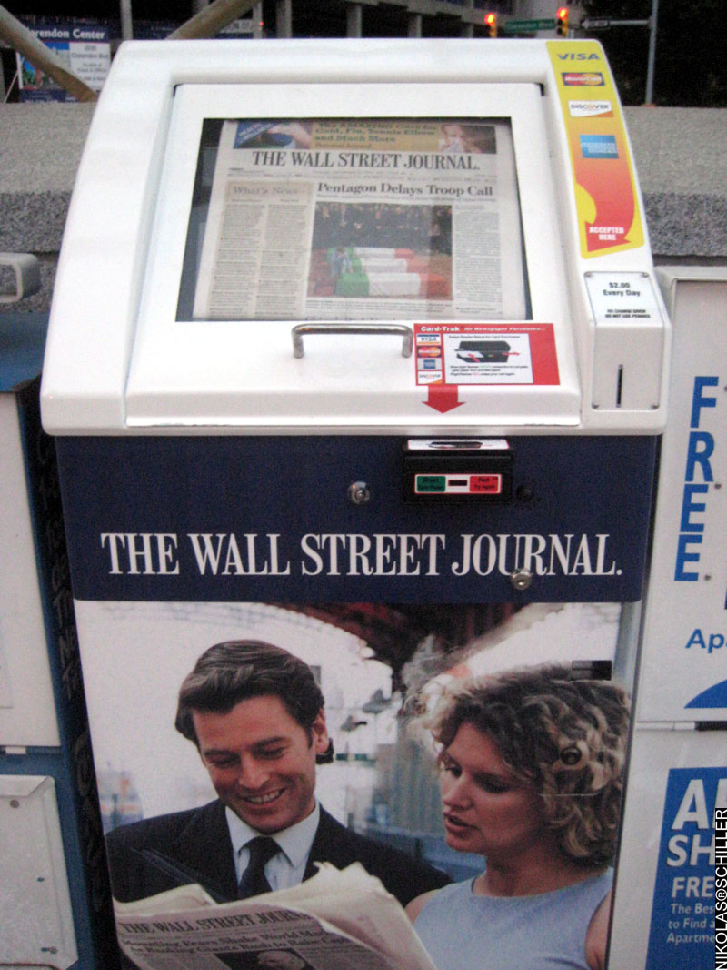Photograph of the Wall Street Journal Newspaper Vending Machine